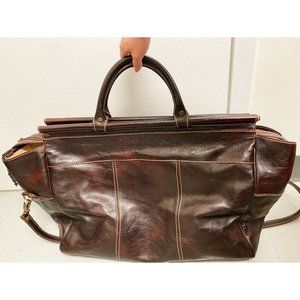 Large Leather Made in Italy Suitcase Luggage Brown